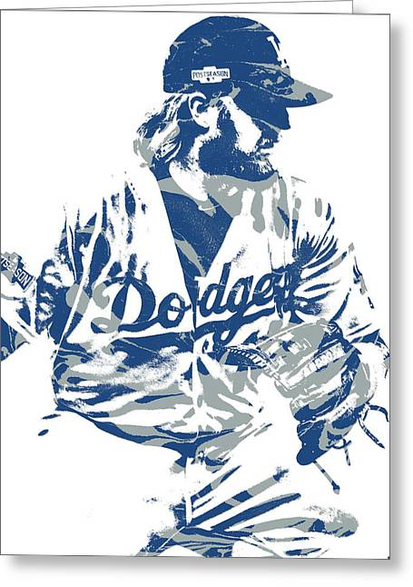 Justin Turner Los Angeles Dodgers Pixel Art 15 Greeting Card