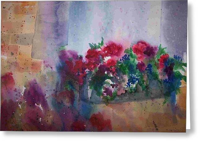 Jutta's Windowbox Greeting Card by Sandy Collier