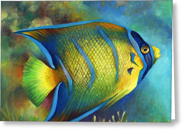 Juvenile Queen Angel Fish Greeting Card by Nancy Tilles