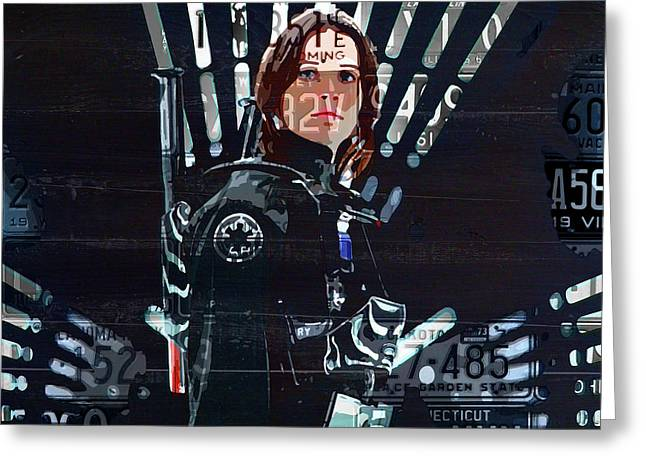 Jyn Erso Felicity Jones Rogue One Star Wars Fan Art In Recycled Vintage License Plates Greeting Card
