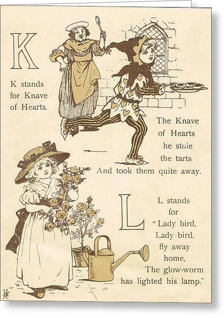 K And L Abc Book Greeting Card by Reynold Jay