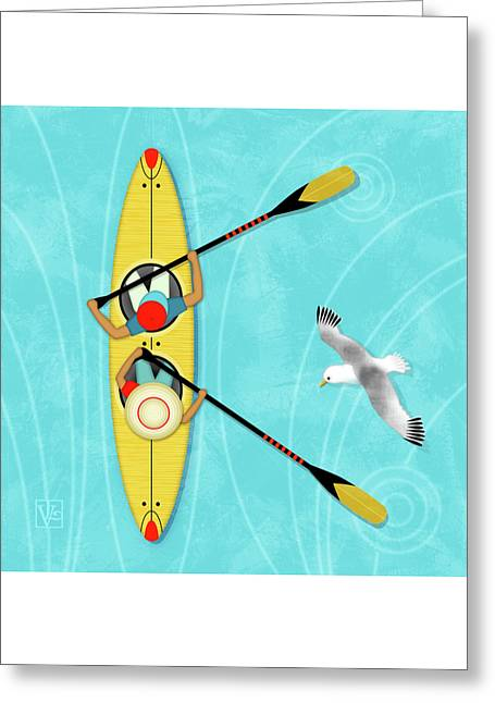 K Is For Kayak And Kittiwake Greeting Card by Valerie Drake Lesiak