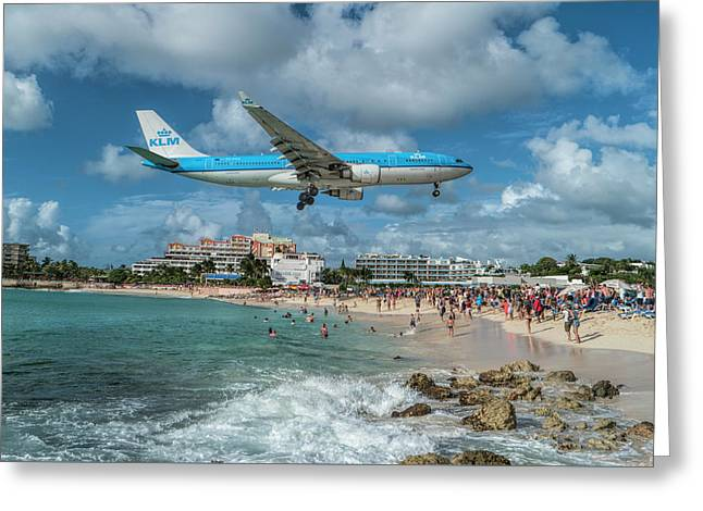 K L M A330 Landing At Sxm Greeting Card