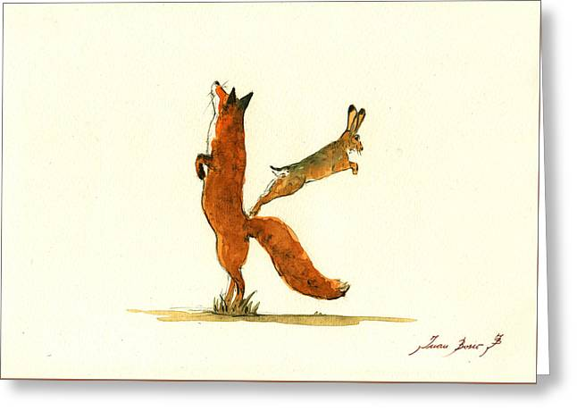 K Letter Woodland Alphabet Greeting Card by Juan  Bosco