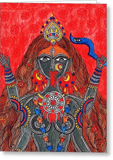 Kaali- The Fierce Form Greeting Card by Shishu Suman