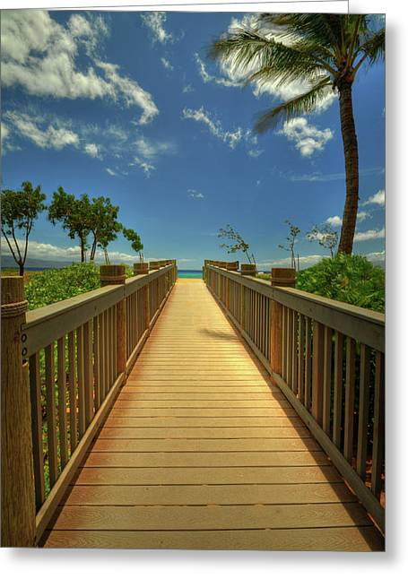 Tropical Beach Greeting Cards - Kaanapali Boardwalk Greeting Card by Kelly Wade
