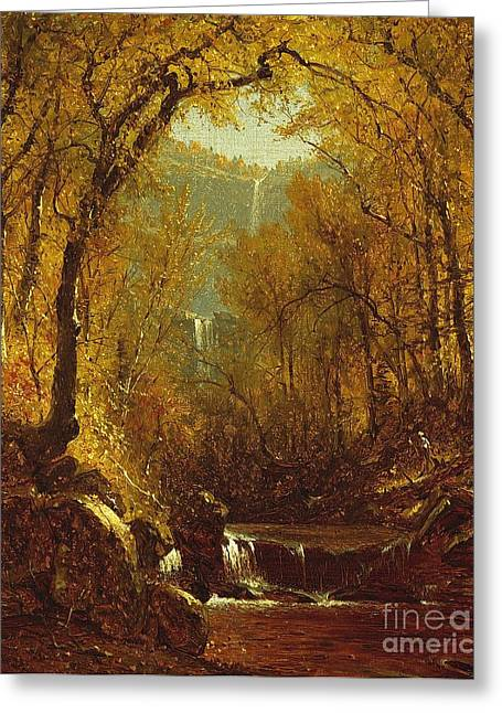 Leafs Greeting Cards - Kaaterskill Falls Greeting Card by Sanford Robinson Gifford
