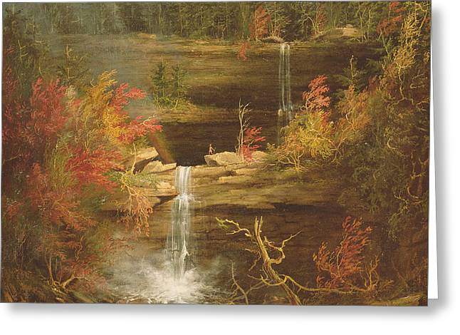 Kaaterskill Falls Greeting Card by Thomas Cole