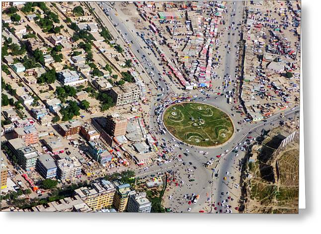 Kabul Traffic Circle Aerial Photo Greeting Card