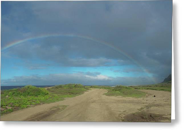 Ka'ena Point Rainbow Greeting Card by Megan Martens
