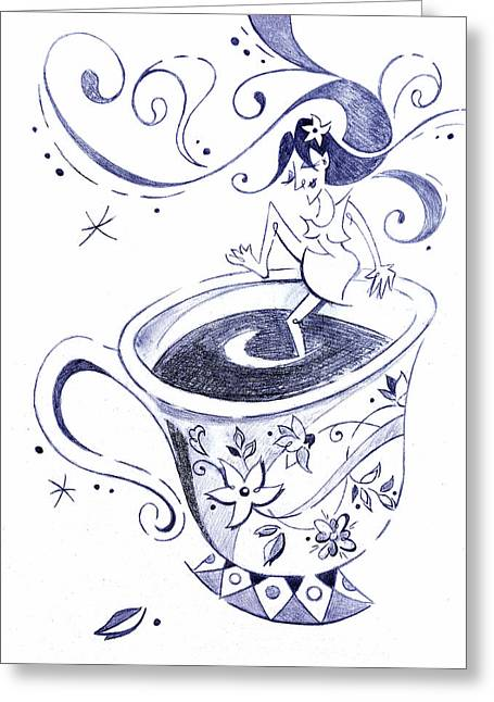 Kaffee - Arte Cafe - Coffee Cup Drawing Greeting Card