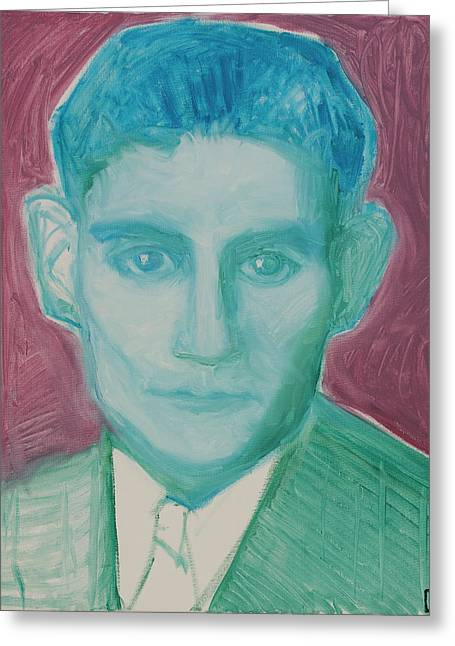 Kafka In Psychedelic Green Greeting Card by Ksh