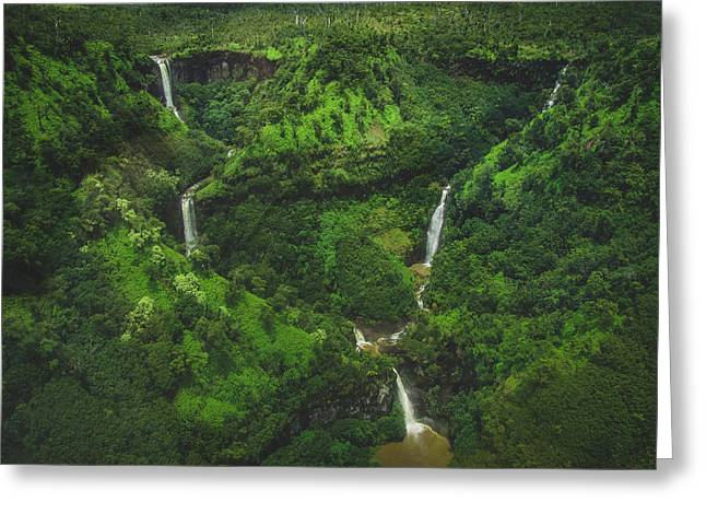 Kahili Falls Aerial Greeting Card