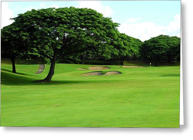 Kahili Golf Course Fairway Trees Greeting Card by Kirsten Giving