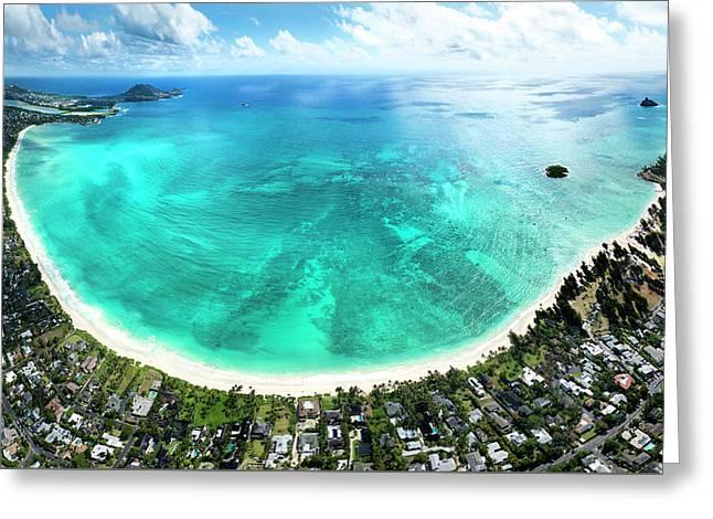 Kailua - Lanikai Overview Greeting Card by Sean Davey