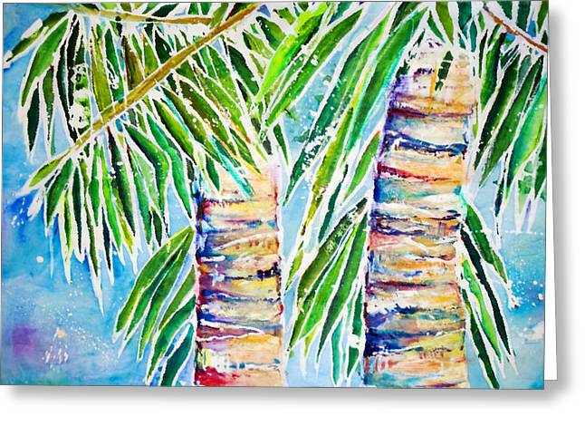 Kaimana Beach Greeting Card by Julie Kerns Schaper - Printscapes