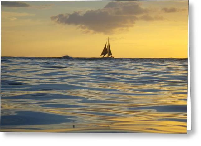 Kaimana Golden Sunset Greeting Card by Erika Swartzkopf