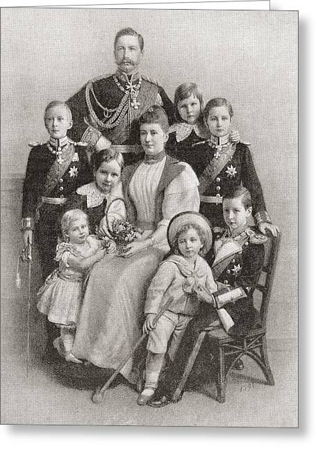 Kaiser Wilhelm II With His Wife Augusta Greeting Card