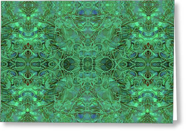 Kaleid Abstract Emerald Greeting Card