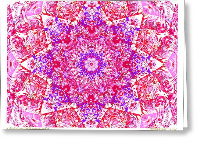Kaleido Red Rubi 8 Greeting Card by Terry Anderson