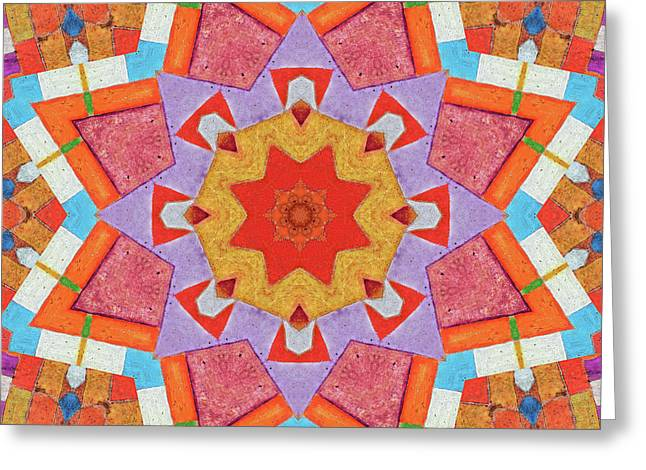 Kaleidoscope Painted Wood Greeting Card by Bright Designs