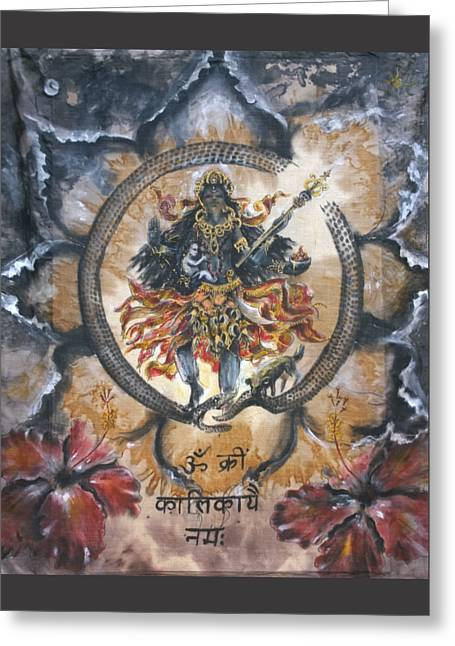 Kali And Ouroboros  Greeting Card by Silk Alchemy
