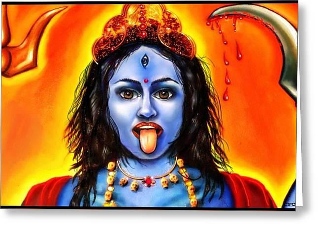 Kali -the Hindu Goddess Greeting Card by Carmen Cordova