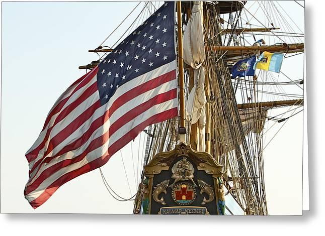 Kalmar Nyckel American Flag Greeting Card