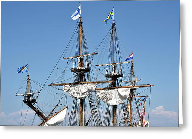 Greeting Card featuring the photograph Kalmar Nyckel - Docked In Lewes Delaware by Brendan Reals