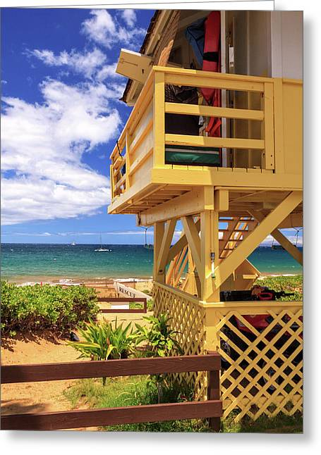 Greeting Card featuring the photograph Kamaole Beach Lifeguard Tower by James Eddy