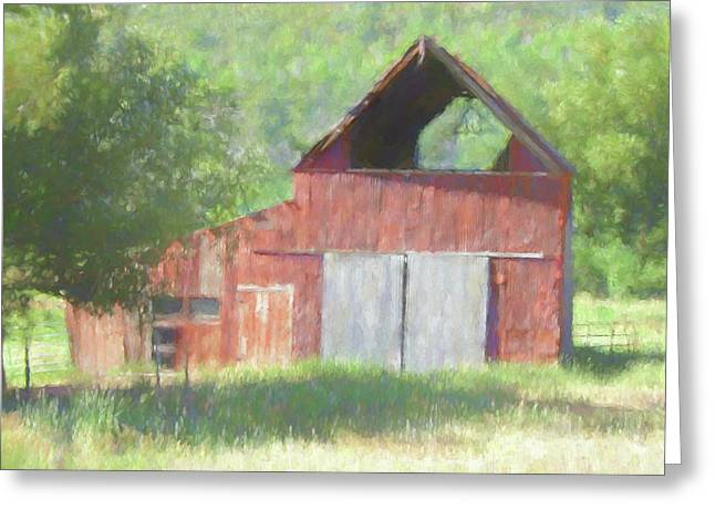 Greeting Card featuring the digital art Kamas Barn Dop by David King