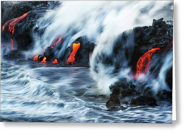 Kamokuna Lava Ocean Entry, 2016 Greeting Card
