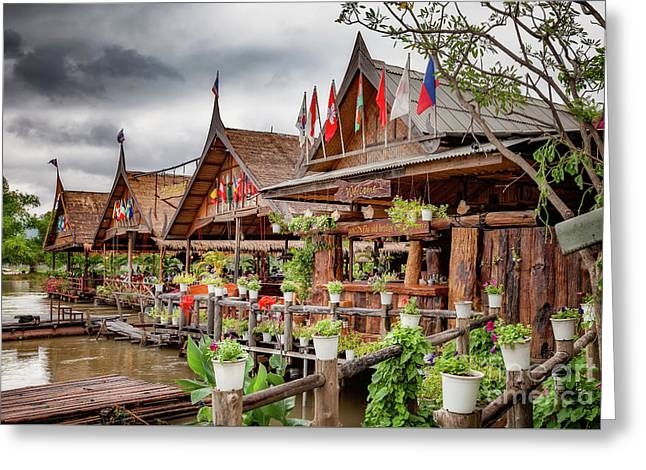 Kanchanaburi River Shops Greeting Card