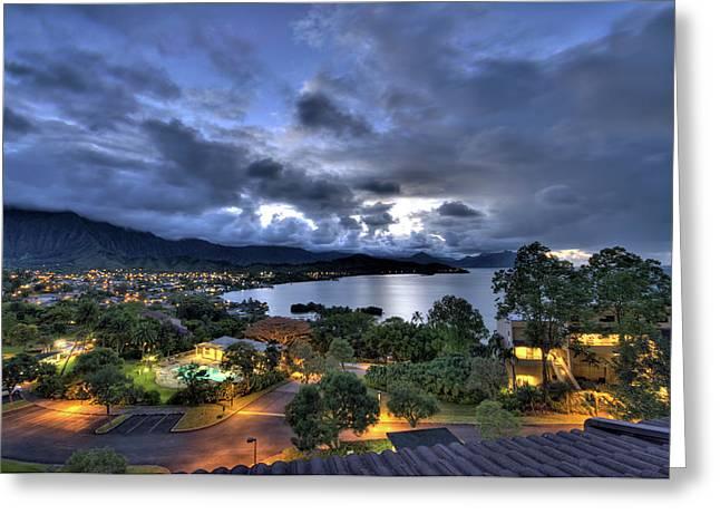 Hawaii. Greeting Cards - Kaneohe Bay Night HDR Greeting Card by Dan McManus