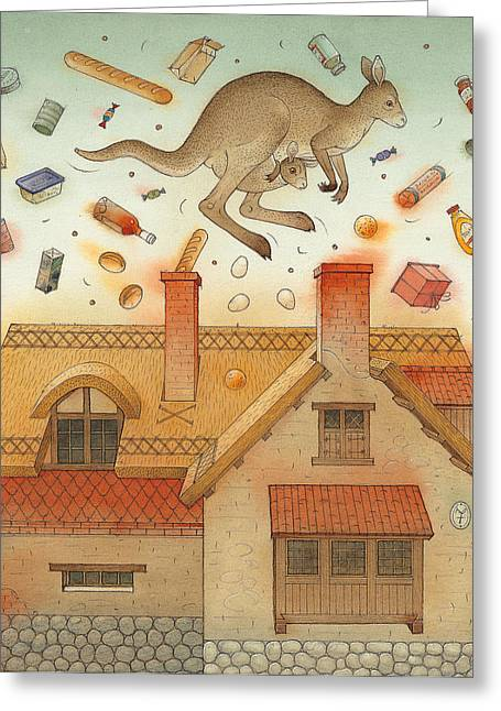 Kangaroo Greeting Card by Kestutis Kasparavicius
