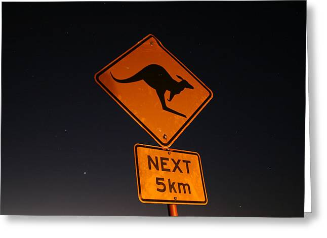 Greeting Card featuring the photograph Kangaroo Road Sign In The Northern Territory by Keiran Lusk
