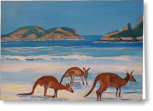 Kangaroos On The Beach Greeting Card