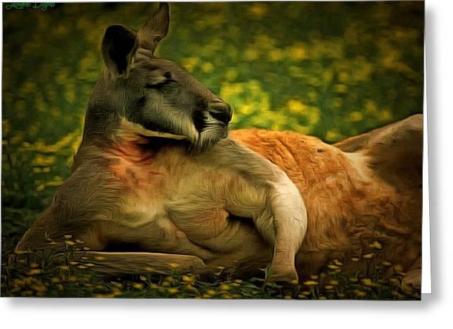 Kangaroouman Greeting Card by Leonardo Digenio