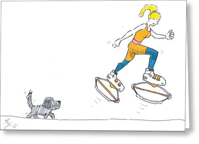 Kangoo Jumps Bouncy Shoes Walking The Dog Keep Fit Cartoon Greeting Card by Mike Jory