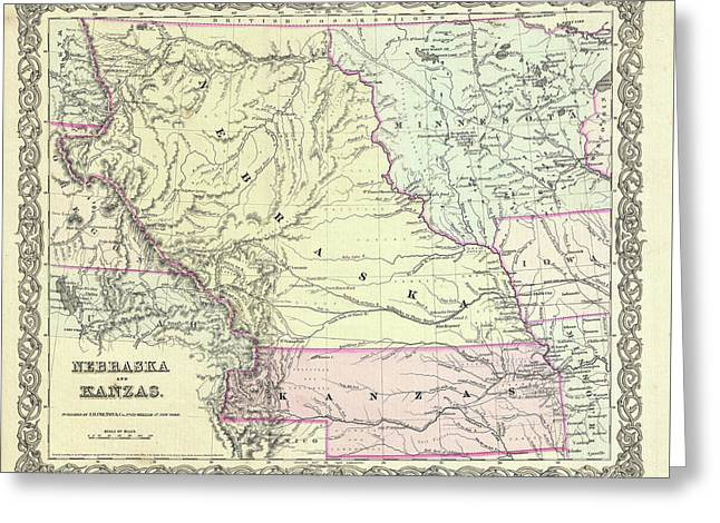 Kansas And Nebraska 1855 Greeting Card by Mountain Dreams
