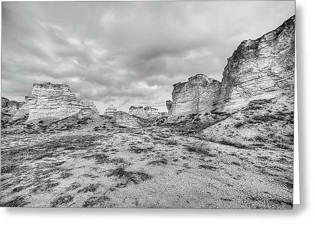 Greeting Card featuring the photograph Kansas Badlands Black And White by JC Findley