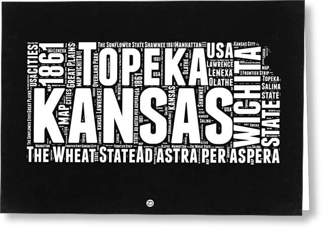 Kansas Black And White Word Cloud Map Greeting Card by Naxart Studio