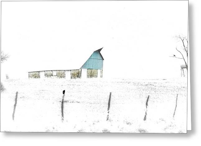 Kansas Blue Barn In Frozen Fog Greeting Card
