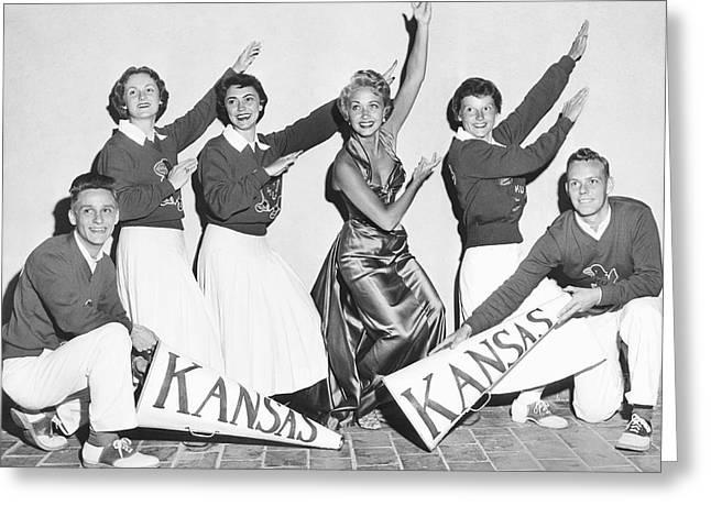 Kansas Cheerleader Squad Greeting Card by Irving L. Antler