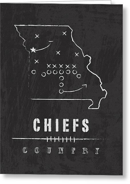 Kansas City Chiefs Art - Nfl Football Wall Print Greeting Card by Damon Gray