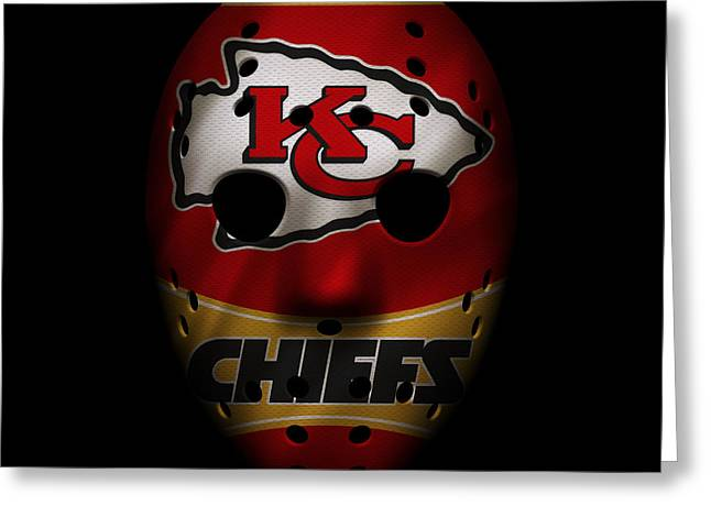 Kansas City Chiefs War Mask 2 Greeting Card by Joe Hamilton