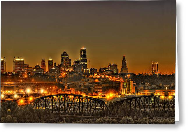 Kansas City Missouri At Dusk Greeting Card by Don Wolf
