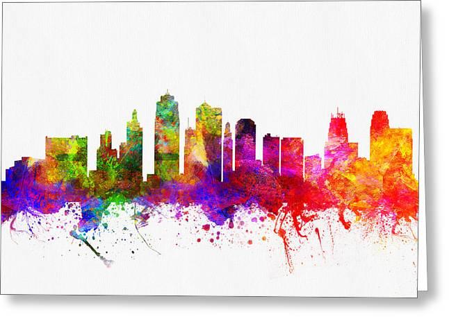 Kansas City Missouri Skyline Color02 Greeting Card