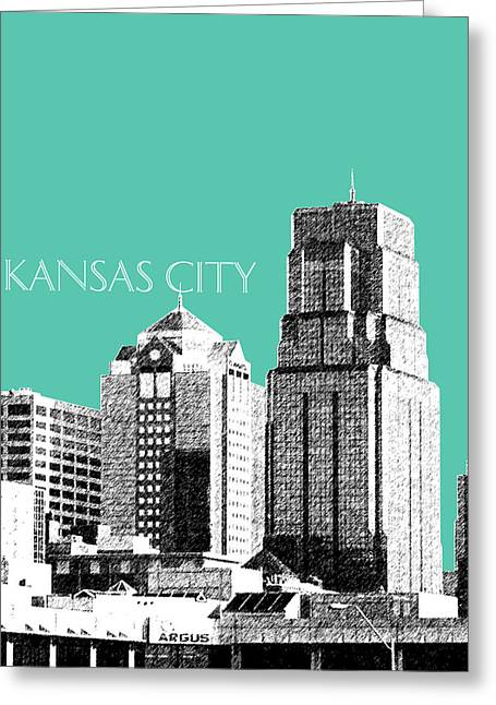 Kansas City Skyline 1 - Teal Greeting Card by DB Artist