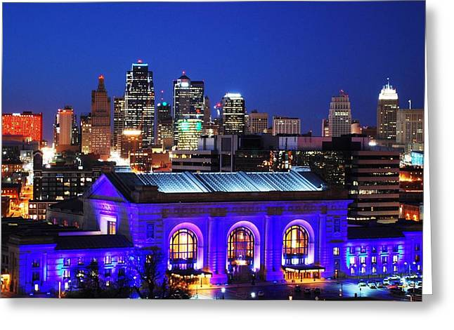 Kansas City Skyline At Night Greeting Card